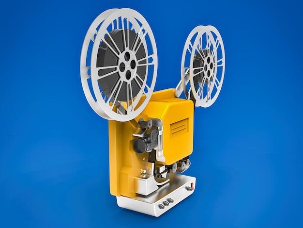 파란색 배경에 격리된 노란색 3d 시네마 필름 프로젝터. 3d 렌더링.