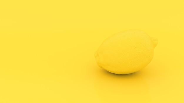 Yellow 3d lemon on yellow background