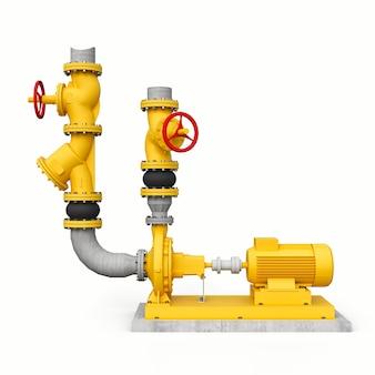 흰색 격리된 배경에 차단 밸브가 있는 산업용 펌프 및 파이프 섹션의 노란색 3d 모델입니다. 3d 그림입니다.