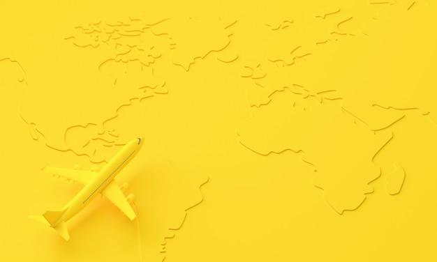 세계지도의 표면에 노란색 3d 비행기. 여행 및 최소한의 아이디어 개념. 3d 렌더링