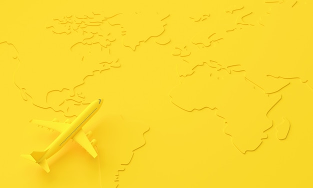 Yellow 3d plane on the surface of the world map. travel and minimal idea concept. 3d rendering