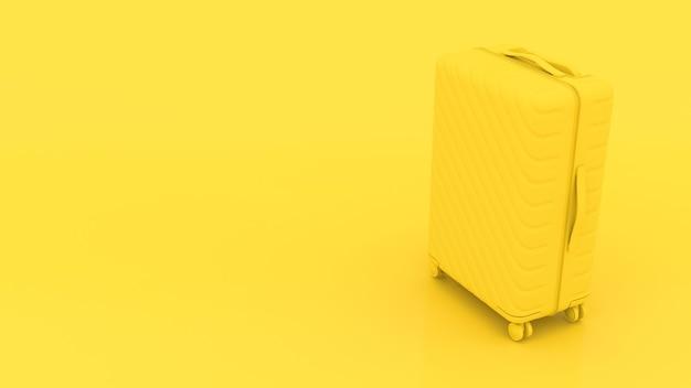 Valigia gialla 3d su sfondo giallo