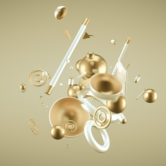 Yellow abstract minimalism background with flying objects and shapes. 3d rendering.