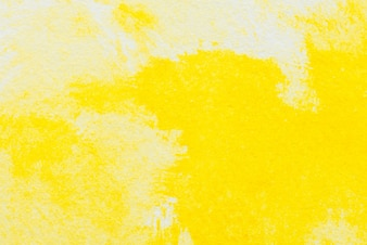 Yellow abstract watercolor painting textured on white paper background