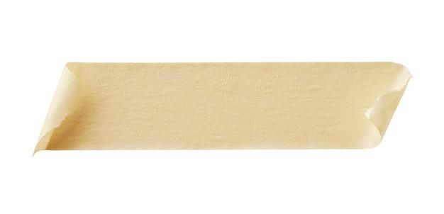 白い背景で隔離の黄色の粘着紙テープ