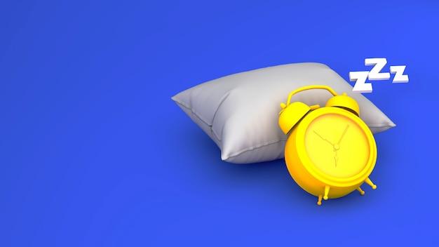 Желтый будильник на синем фоне лежит на подушке