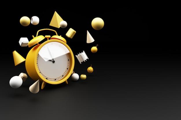 Желтый будильник, окруженный множеством геометрических фигур, желтый 3d-рендеринг