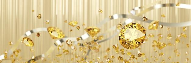 Желтый янтарный драгоценный камень алмазная группа падающий фон мягкий фокус боке