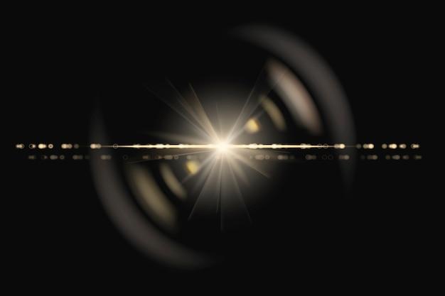 Yellow anamorphic lens flare design element