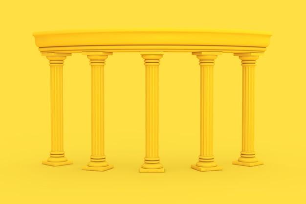 노란색 배경에 이중톤 스타일의 노란색 고대 고전 그리스 기둥 호. 3d 렌더링