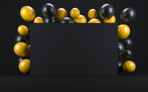 黒板の周りの黒いインテリアの黄色と黒の風船。 3dレンダリング