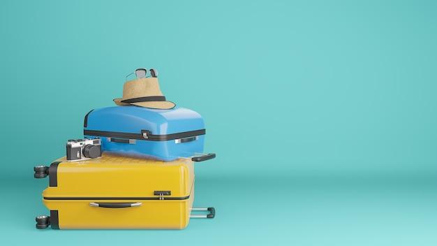 日よけ帽とメガネ、カメラ、旅行のコンセプトと黄色と青のスーツケース