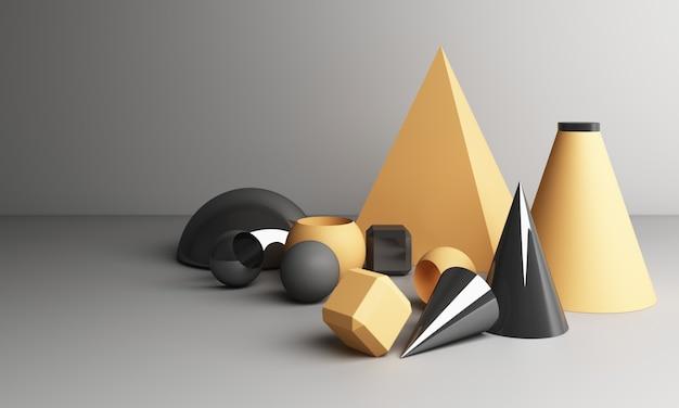 노란색과 회색 기하학적 모양 3d 렌더링
