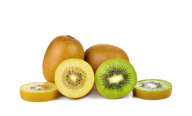 分離された黄色と緑のキウイ