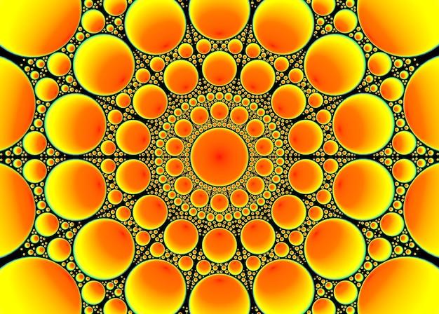 黄色とオレンジ色のいくつかの円の行マンダラスタイルの背景に。