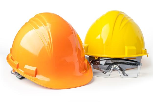 黄色とオレンジ色の建設用ヘルメット安全メガネ