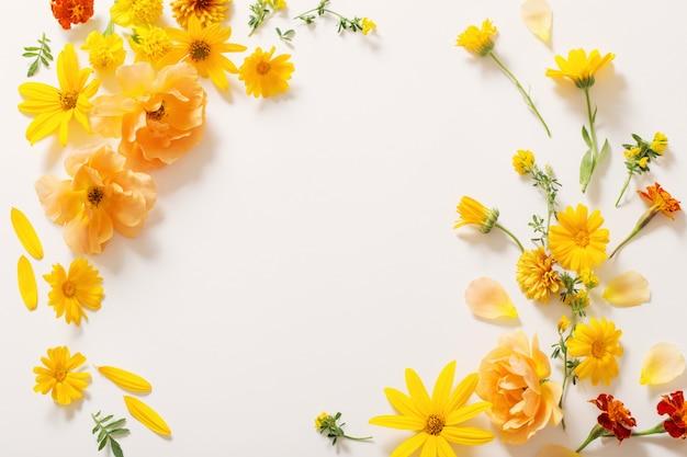 白い壁に黄色とオレンジ色の花 Premium写真