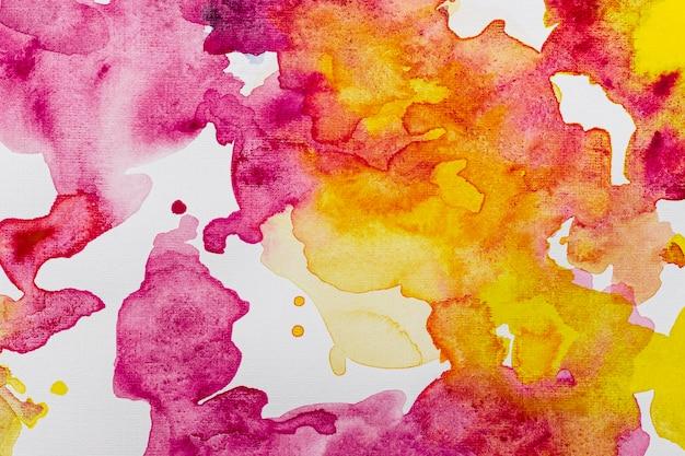 노란색과 생생한 핑크 수채화 복사 공간 패턴 배경