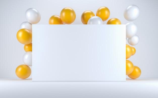 ホワイトボードの周りの白いインテリアの黄色と白の風船。 3dレンダリング