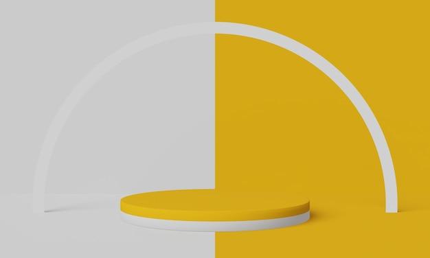 黄色と白の表彰台。幾何学的な製品スタンド。 3dイラスト。