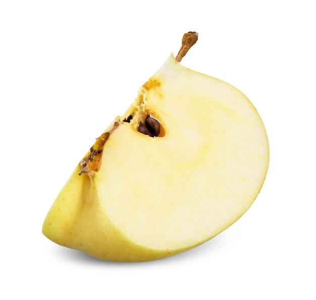 白いクリッピングパスで分離された黄リンゴ