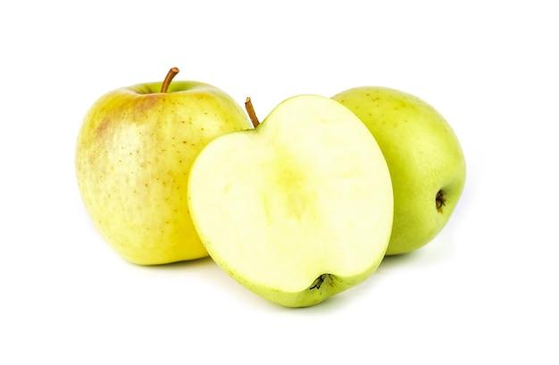 Yellow apple on white background