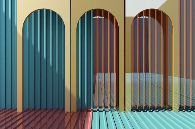 Желтая арка с красочными металлического листа фон и пол 3d рендеринга