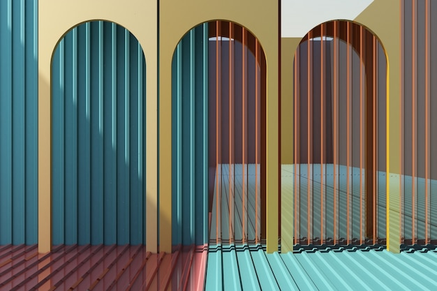 Yellow arch with colorful metal sheet background and floor 3d rendering