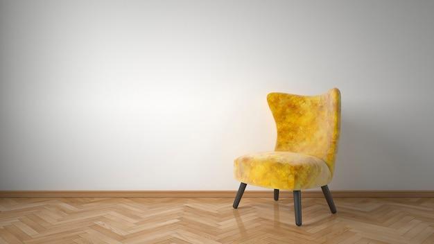 Желтое кресло в комнате
