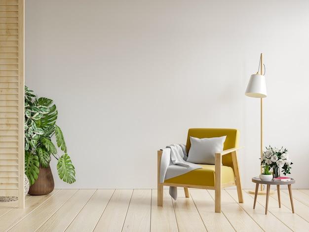 客厅内部有一张黄色的扶手椅和一张木桌,白色的墙壁。三维渲染