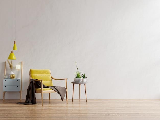 Poltrona gialla e un tavolo di legno nell'interno del soggiorno, parete bianca. rendering 3d