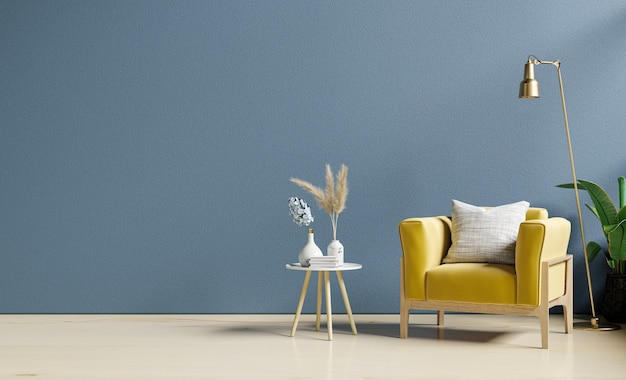 Yellow armchair and a wooden table in living room interior with plant,dark blue wall.3d rendering
