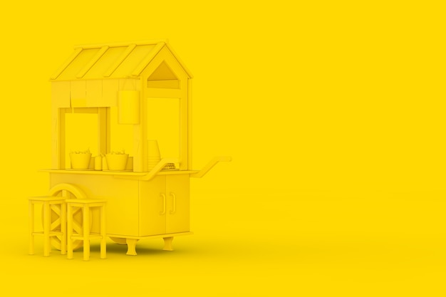Yellow asian wooden street food meatball noodle cart with chairs in duotone style on a yellow background. 3d rendering