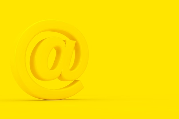 노란색 at 이메일 또는 인터넷 기호는 노란색 배경에 이중톤 스타일로 로그인합니다. 3d 렌더링