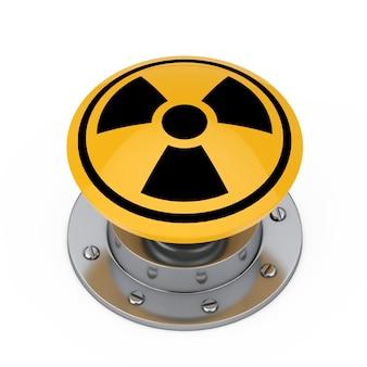 흰색 바탕에 방사선 기호가 있는 노란색 원자 폭탄 발사 핵 버튼. 3d 렌더링