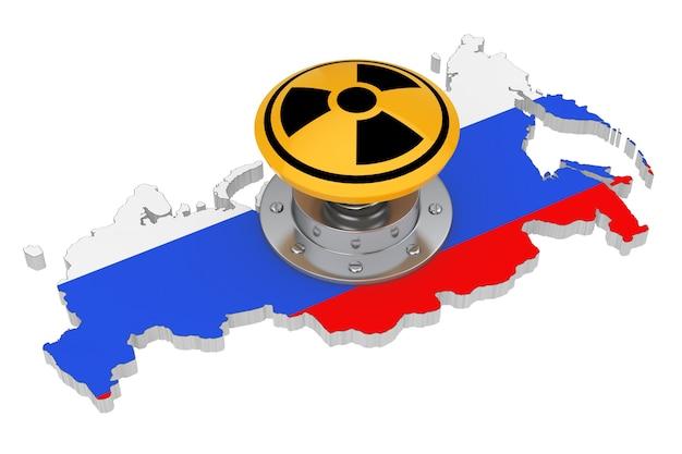 흰색 바탕에 플래그가 있는 러시아 지도 위에 방사선 기호가 있는 노란색 원자 폭탄 발사 핵 버튼. 3d 렌더링