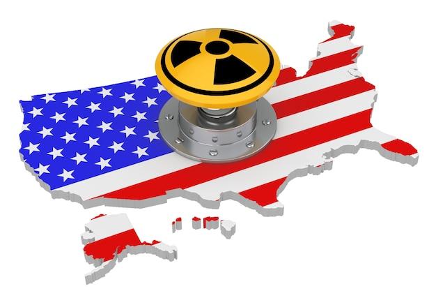 흰색 바탕에 플래그가 있는 미국 지도 위에 방사선 기호가 있는 노란색 원자 폭탄 발사 핵 버튼. 3d 렌더링