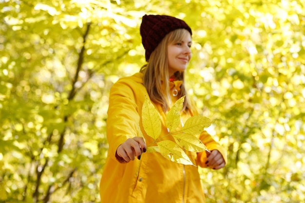 秋の明るい黄色の背景の前に女性の手に黄色い紅葉