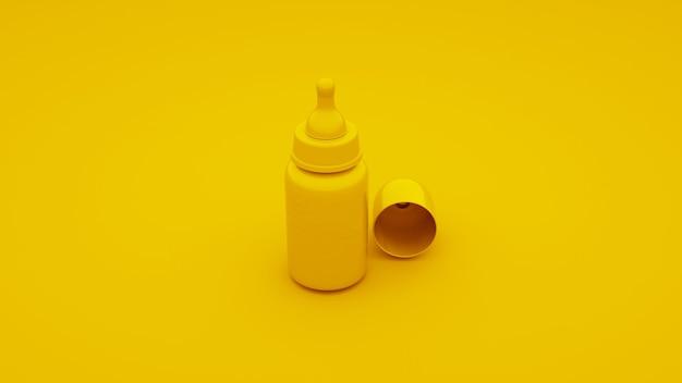 노란색 아기 병. 3d 그림.