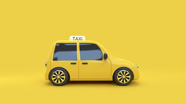Yellow background 3d rendering eco car taxi transportation