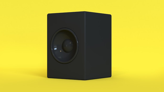 Yellow background black round speaker 3d rendering