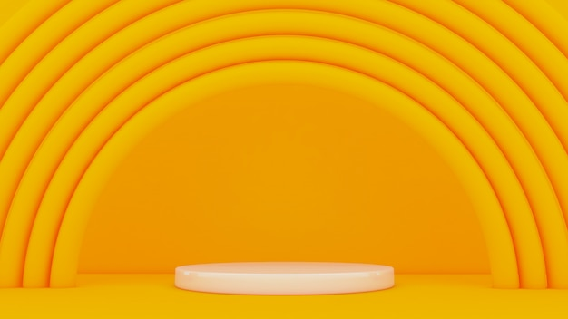 Yellow background with arches around a pedestal