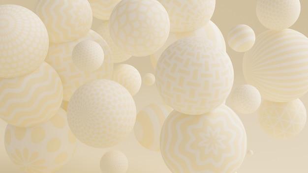 ボールと黄色の背景。 3dイラスト、3dレンダリング。