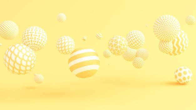 Желтый фон с шариками. 3d иллюстрации, 3d рендеринг.