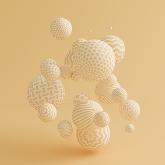 Yellow background with balls.