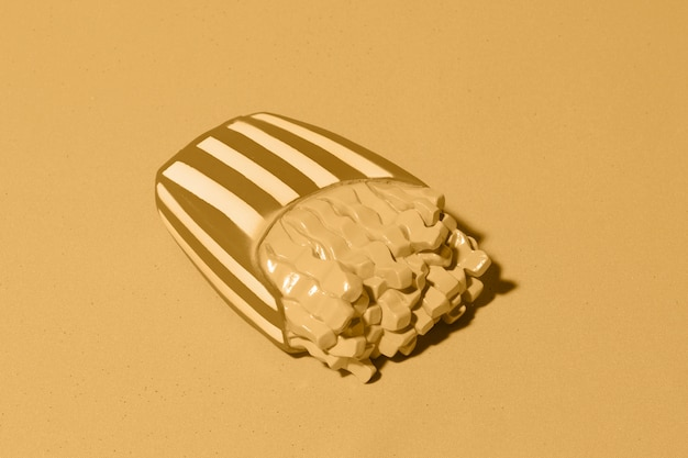 Yellow background with isometric fries