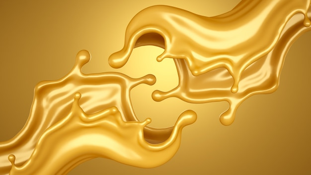 Yellow background with a splash of caramel. 3d illustration, 3d rendering.