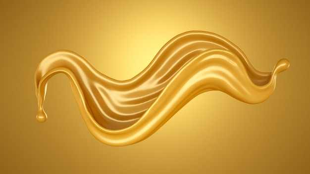 Yellow background with a splash of caramel. 3d rendering.