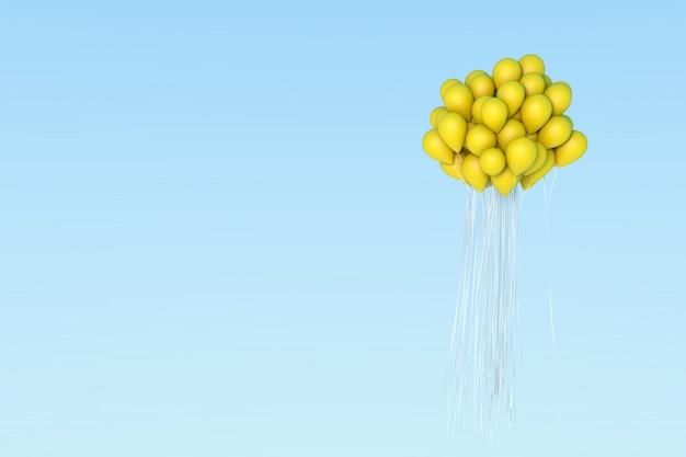 Yellow balloon on sky.