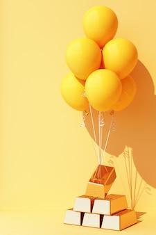 黄色い風船が金の棒で縛られて引き上げられている